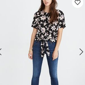 Madewell Silk Button-Back Tie Tee in Winter Orchid